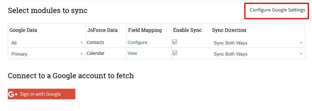 google-configuration-settings