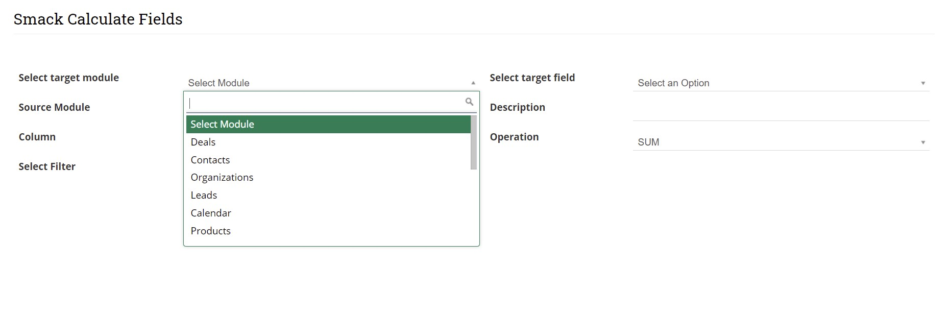 Select target module to configure with Calculate Fields
