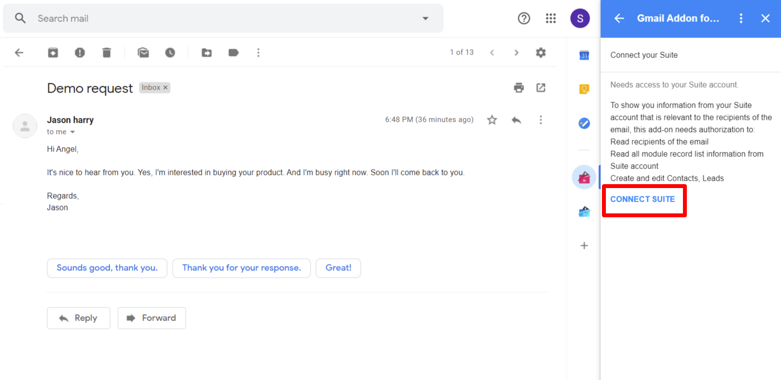 select-connect-suite-to-connect-SuiteCRM-with-suite-gmail-addon