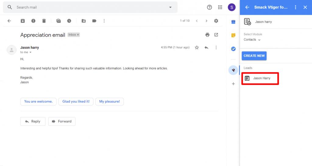 vtiger-gmail-addon-displays-lead-record